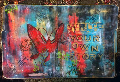 Nov2015 StencilClub - File Folder Art Journal 3 - Gwen Lafleur