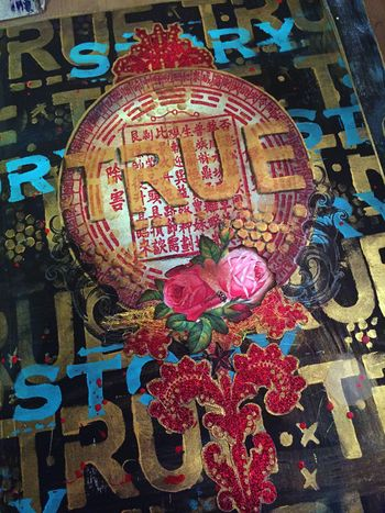 Nov2015 StencilClub - File Folder Art Journal Cover Close-up - Gwen Lafleur