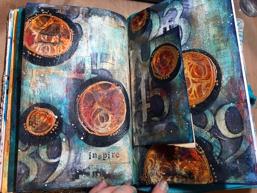 Dec2015 StencilClub - Art Journal Page 1a - Gwen Lafleur