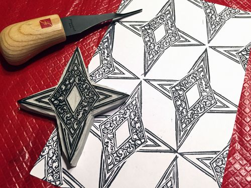 Carve December 2015 - Ornate 4-Point Star Stamp - Gwen Lafleur