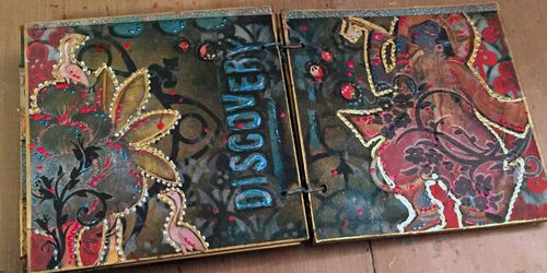 Inchie Arts - StencilGirl - Mini Art Journal Spread 3 - Gwen Lafleur