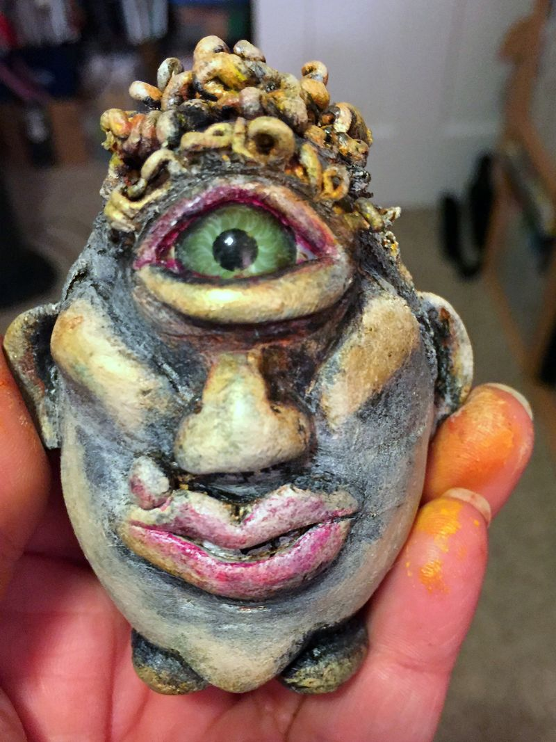 Curly Joe - Dirty Rotten Egg Sculpture - Gwen Lafleur