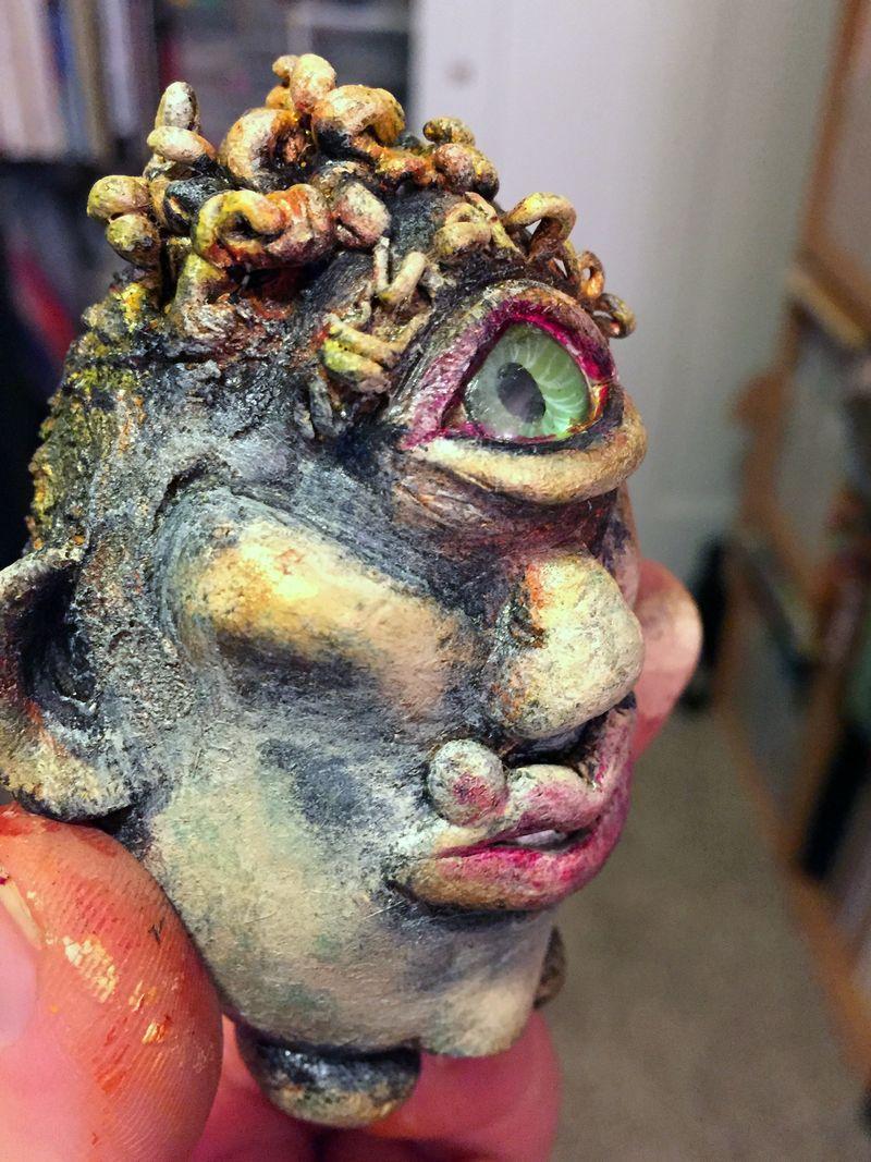 Curly Joe - Dirty Rotten Egg Sculpture - side view 2 - Gwen Lafleur
