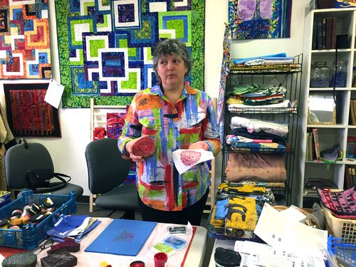 Judy Giving a Block Print Demo - Artistic Artifacts