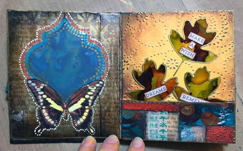 StencilGuts Handmade Art Journal - Pages 2-3 - Gwen Lafleur