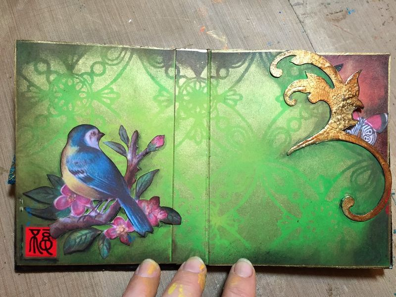 StencilGuts Handmade Art Journal - Pages 4-5 - Gwen Lafleur