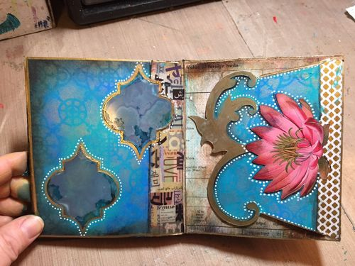 StencilGuts Handmade Art Journal - Pages 8-9 - Gwen Lafleur