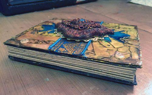 StencilGuts Handmade Art Journal - Cover Side View - Gwen Lafleur