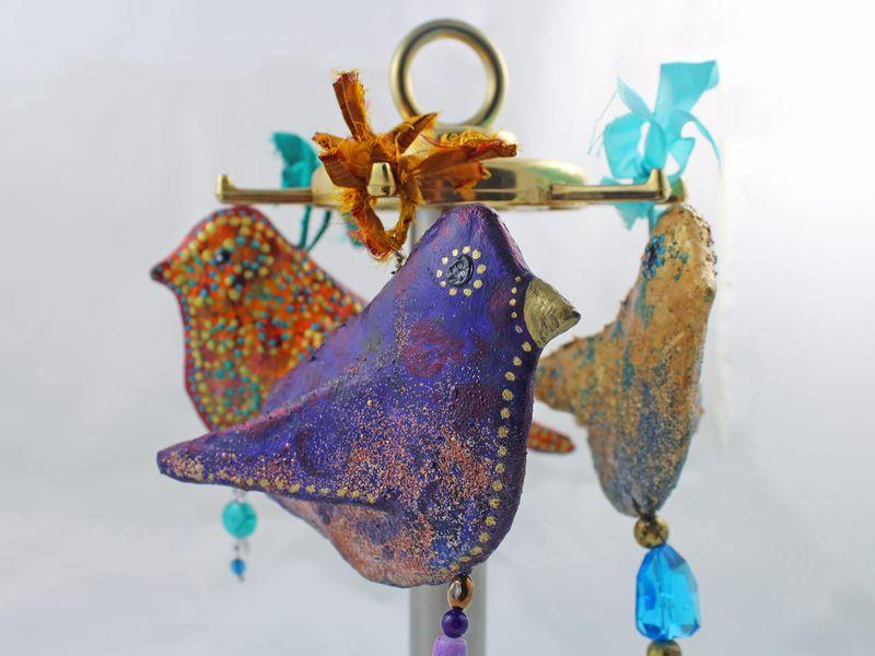3 Bird Sculptures from Foam Stamp 1 - Gwen Lafleur