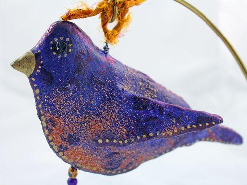 Purple Bird Sculpture from Foam Stamp 3 - Gwen Lafleur