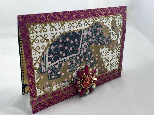 Stamped Elephant Window Card - Gwen Lafleur