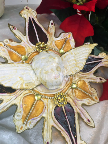Faux Ceramic Ornament from Stencil Close-up - Gwen Lafleur
