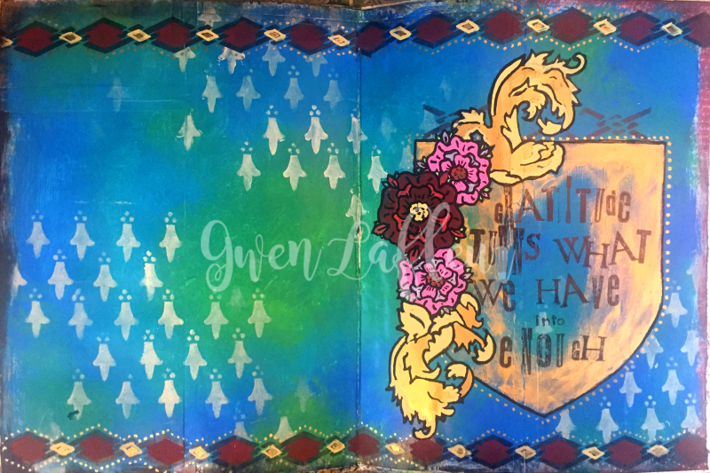 Gratitude Art Journal with Heraldry Stencils - Gwen Lafleur