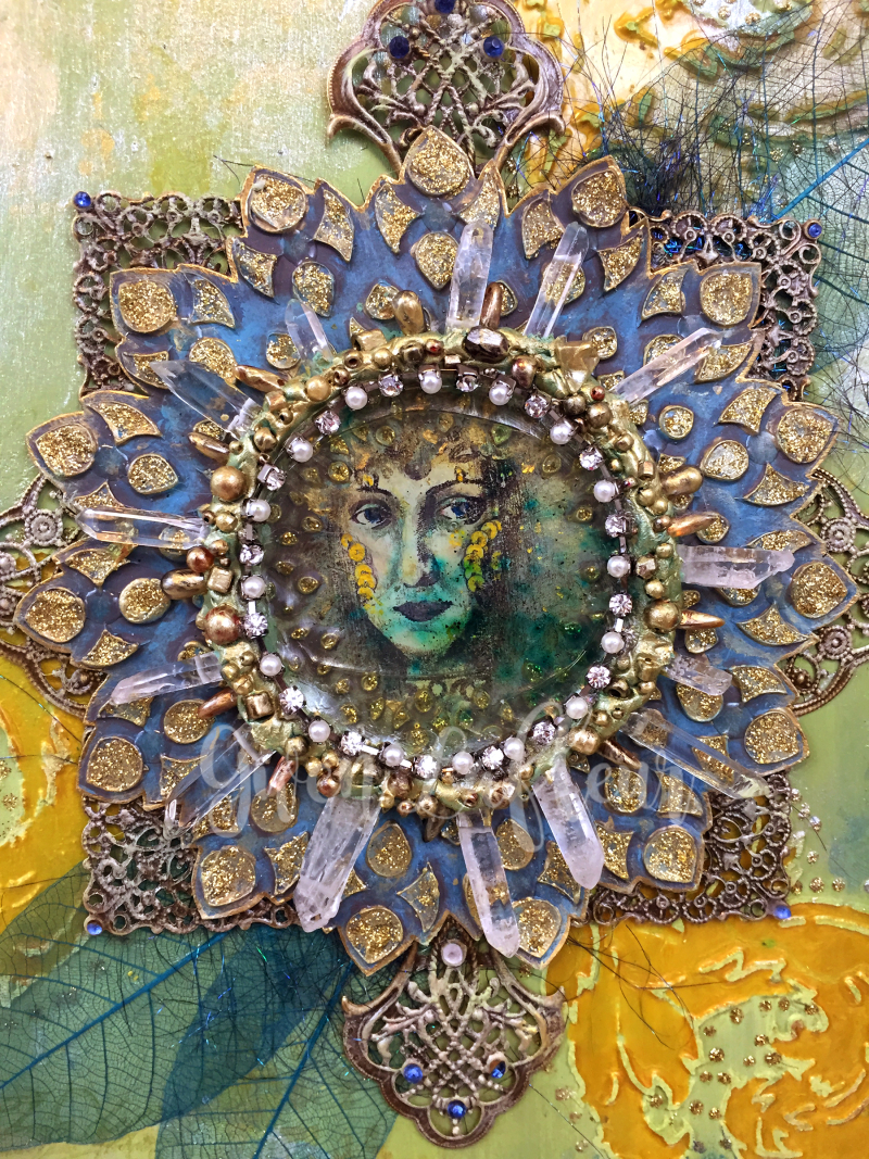 Mixed Media Medallion Close-up 1 - Lady of the Lake - Gwen Lafleur