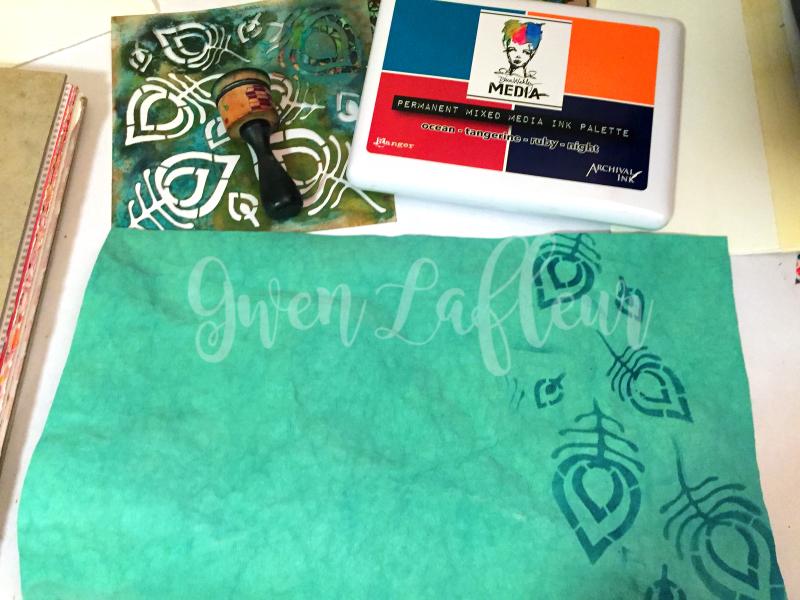 Stenciled Kraft-Tex Notebook Cover Step 1 - Gwen Lafleur