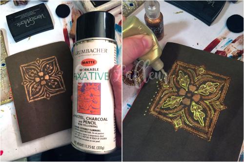 Stenciled Kraft-Tex Notebook Cover Step 9a - Gwen Lafleur