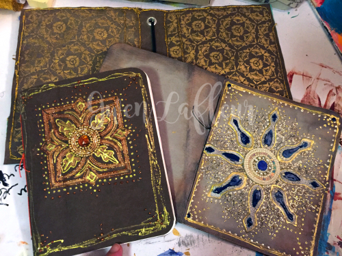 Stenciled Kraft-Tex Notebook Cover Step 10 - Gwen Lafleur