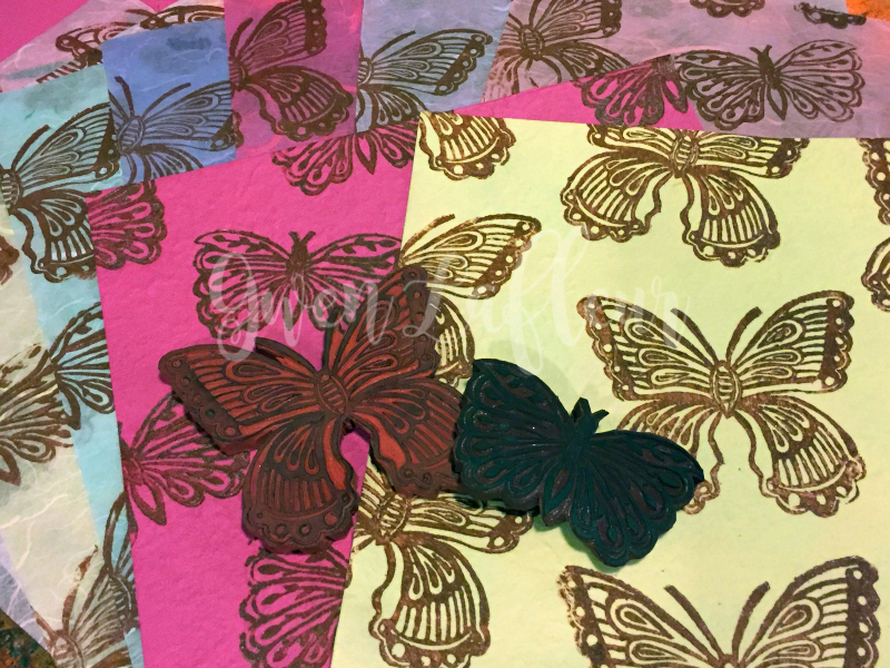 Printmaking - Handcarved Butterflies on Mulberry - Gwen Lafleur