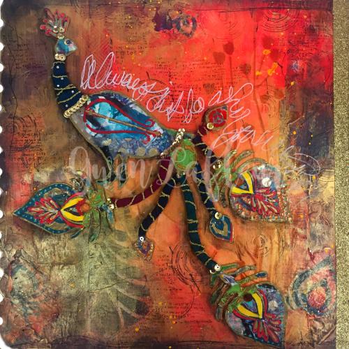 Boho Art Journaling - Peacock Spread - Gwen Lafleur