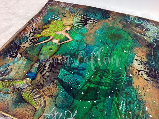 Mermaid-Art-Journal-Spread-with-Stencils-Closeup-1---Gwen-Lafleur