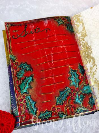 Dear-Santa-Art-Journal-Page---Cardinal-and-Holly-Stencil---Gwen-Lafleur