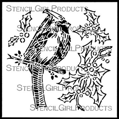 Christmas Cardinal and Holly Stencil - Gwen Lafleur