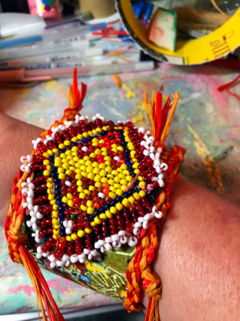 Upcycled-Cuff-with-Beaded-Kuchi-Patch---Lynda-Shoup