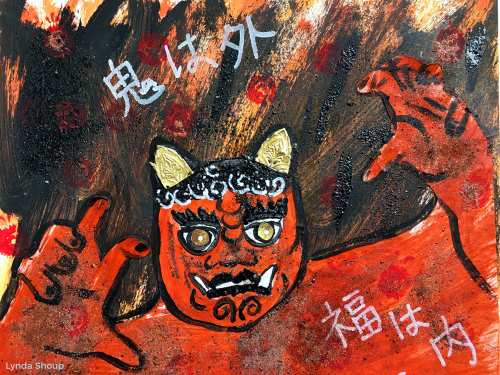 Setsubun-Mixed-Media---Lynda-Shoup