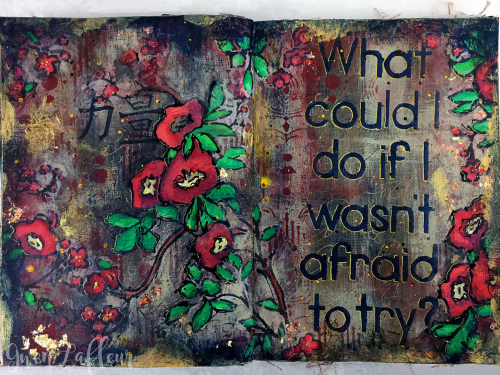 Art-Journaling---Not-Afraid-PlumBlossom-ArtDecoPeacock---Gwen-Lafleur