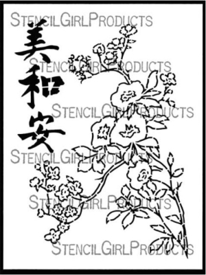 Chinese Garden Plum Blossoms - 9x12 Stencil - Gwen Lafleur