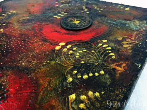 Flower-Stamen-Medallion-Stencil---Mixed-Media-Canvas-Closeup-2---Gwen-Lafleur