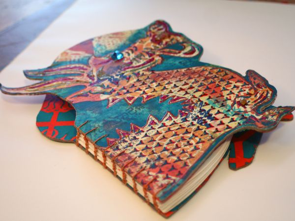 Beautiful Book Cover Handmade ~ Stencilgirl stenciled and shaped books gwen