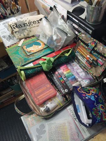 Packing for classes with Dina Wakley in Connecticut
