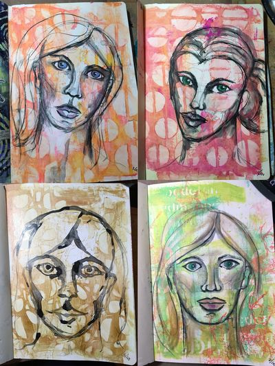 My Face Book with Dina Wakley 4 pages - Gwen Lafleur
