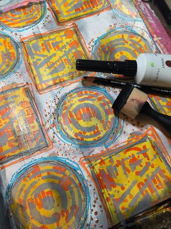 Art Journaling with New Seth Apter Stencils Part 4 - Gwen Lafleur