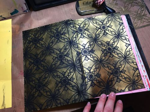 Stenciled Handmade Book Cover End Papers - Gwen Lafleur