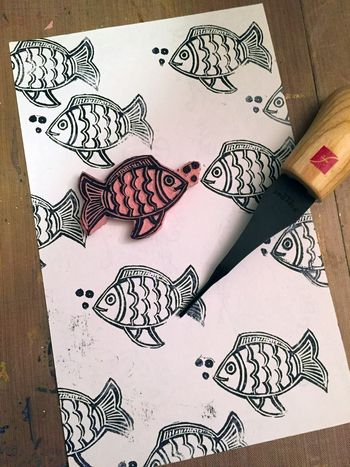 Carve December 2015 - Fish Stamp - Gwen Lafleur