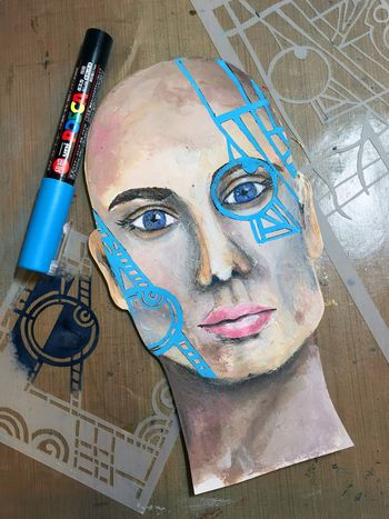 February 2016 StencilClub Mixed Media Painting Step 2 - Gwen Lafleur