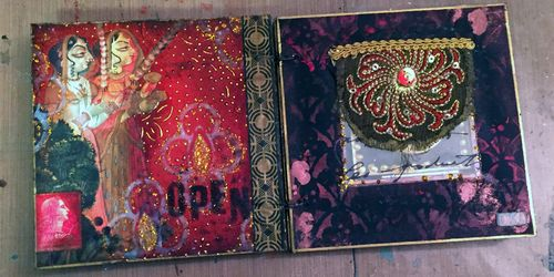 Inchie Arts - StencilGirl - Mini Art Journal Spread 1 - Gwen Lafleur