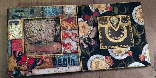 Inchie Arts - StencilGirl - Mini Art Journal Spread 2 - Gwen Lafleur