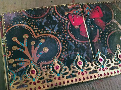 Inchie Arts - StencilGirl - Mini Art Journal Page 7 - Gwen Lafleur