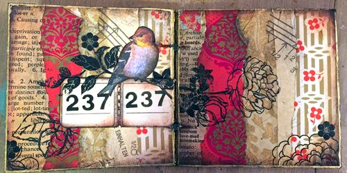 4x4 Mini Art Journal Class Sample - Spread 1 - Gwen Lafleur