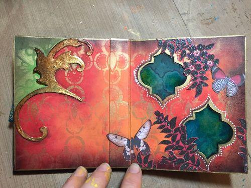 StencilGuts Handmade Art Journal - Pages 6-7a - Gwen Lafleur