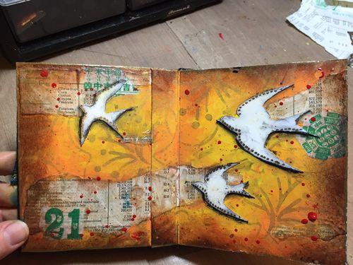 StencilGuts Handmade Art Journal - Pages 10-11 - Gwen Lafleur