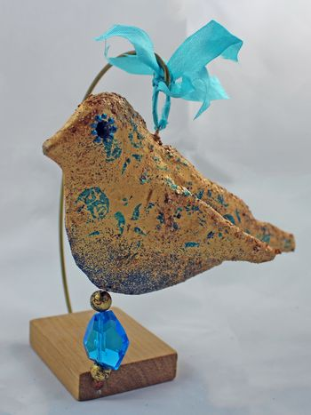 Gold Bird Sculpture from Foam Stamp 1 - Gwen Lafleur
