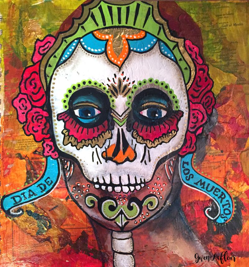 Art Journaling with Dia de los Muertos Mask Stencil - Gwen Lafleur