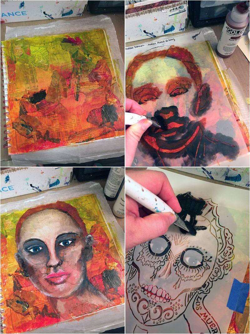 Mix and Match Faces - Art Journaling Step 2-5 - Gwen Lafleur