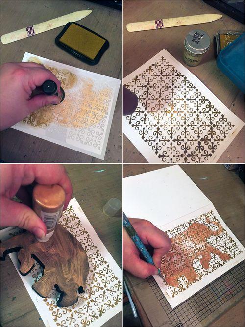 Elephant Window Card Steps 1-4 - Gwen Lafleur