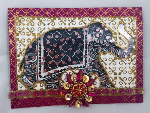 Stamped Elephant Window Card - Gwen Lafleur