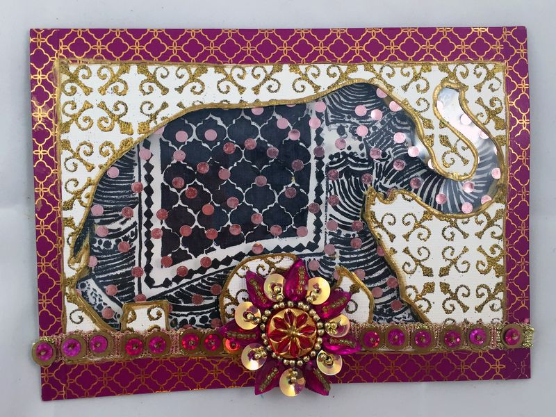 Stamped Elephant Window Card Front - Gwen Lafleur
